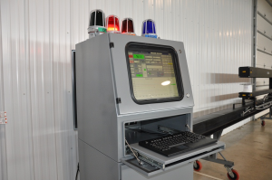 laser thickness gage cabinet with out-of-limit and warning lights